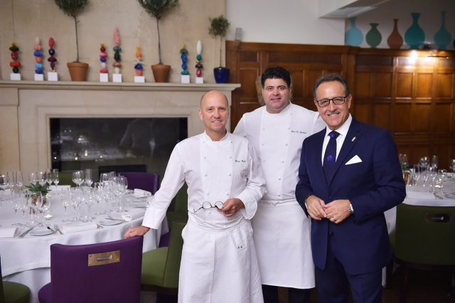 Heinz Beck with his protégé, Heros De Agostinis, and cocktail maestro, Salvatore Calabrese (who is behind the menu at Donovan Bar at Brown's Hotel)