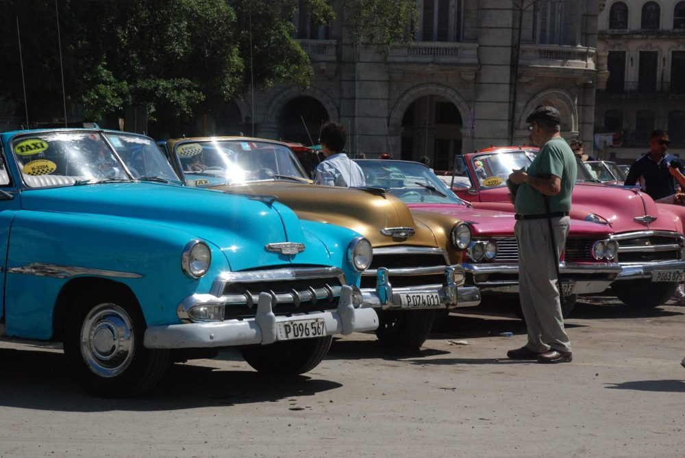 Checking out the cars in Havana, Cuba