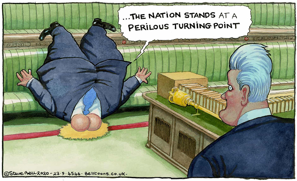 Steve Bell Boris COVID cartoon
