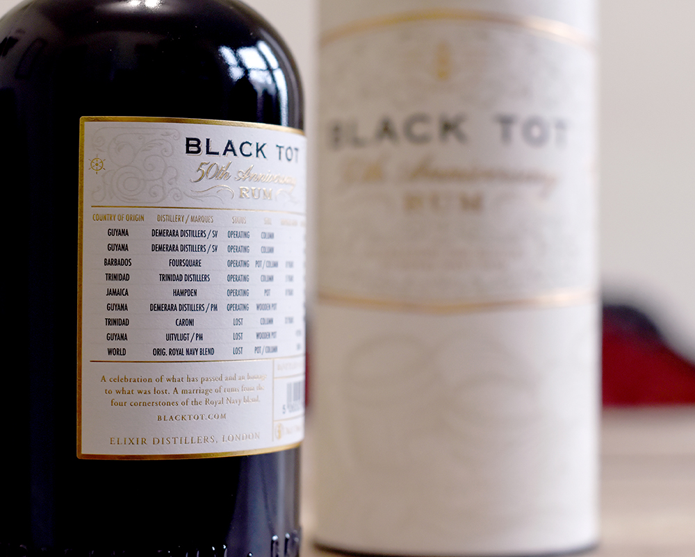 Black Tot 50th Anniversary Rum back label ©SatedOnline