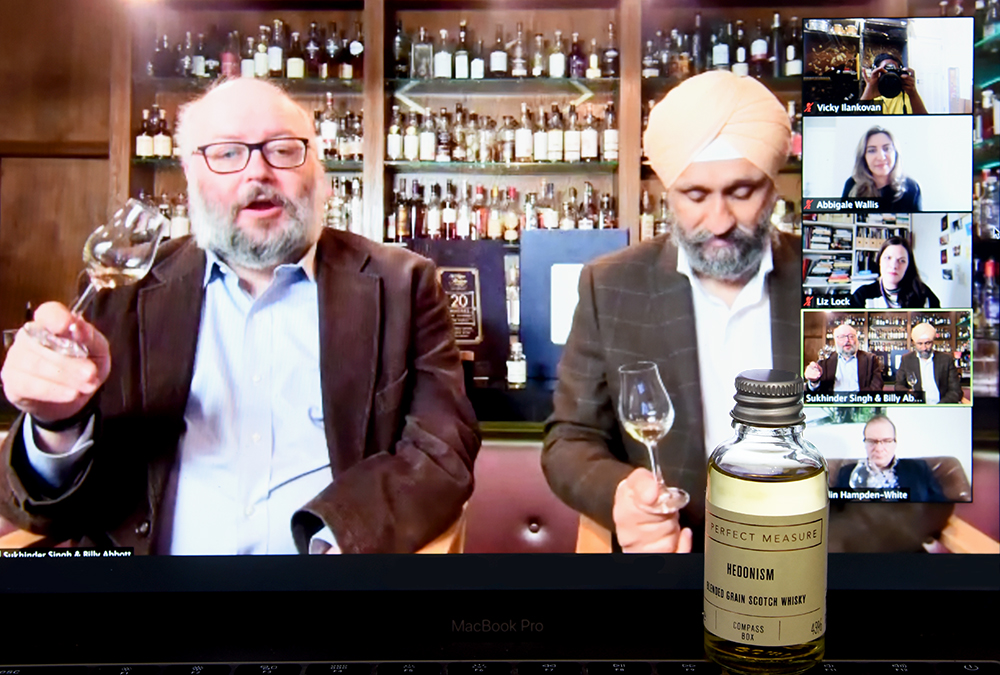Billy and Sukhinder screenshot of Michters and Glendronach TWE 20 whiskies that changed the world press preview ©Satedonline