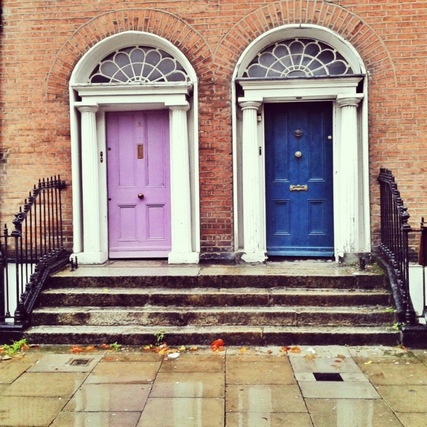 Doors in the rain, Dublin, Ireland