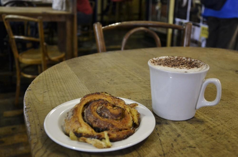 Coffee and a cinnamon bun in Dublin, Ireland