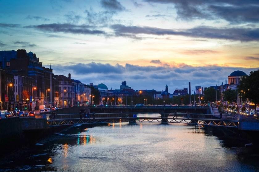 By the River Liffey at dusk, Dublin, Ireland