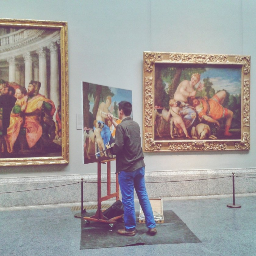 Live art in the Prado, Madrid, Spain