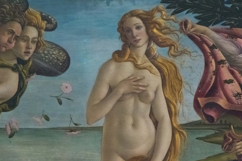 Close-up of Botticelli's Venus in the Uffizi Gallery in Florence, Italy
