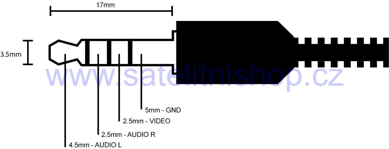 Redukce kabelová Jack 3,5mm 4-pin na RCA (3xCinch) 1,5m