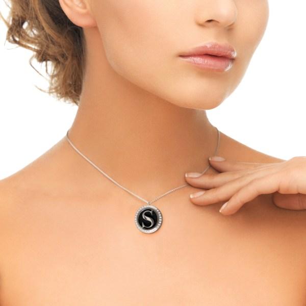 Black Rhinestone Diffuser Necklace