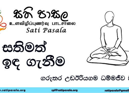 සතිමත් ඉඳ ගැනීම/ Mindful Sitting, demonstrated by Venerable Dhammajiva Thero