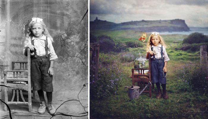 Pozele unui fotograf român readuse la viață de un artist australian (galerie foto)