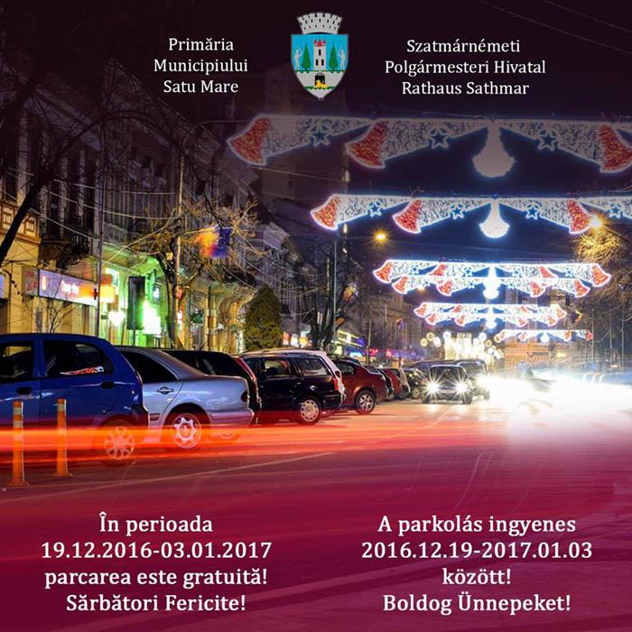 Parcare gratuită de sărbători, în municipiul Satu Mare