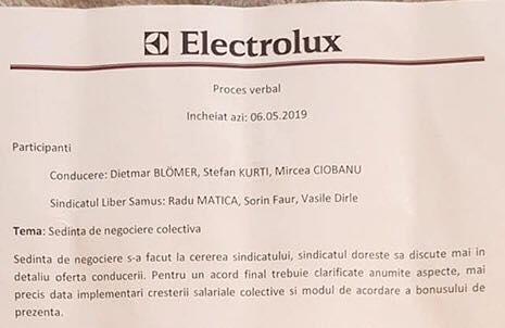 Ce conține procesul verbal încheiat azi la Electrolux (Foto)