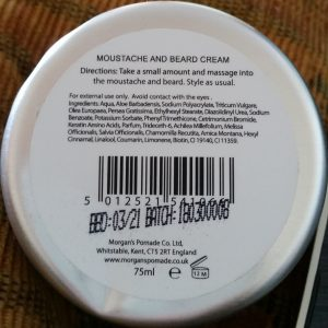 Morgan's Moustache & Beard Cream ingredients