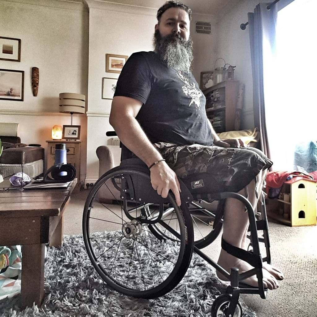 Wheelchair user in RGK Chrome wheelchair