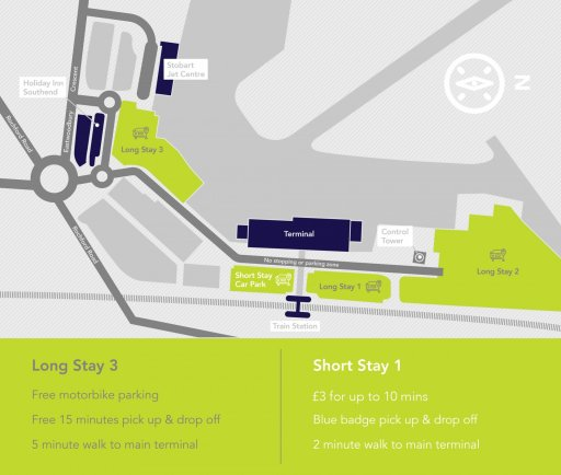 London Southend Airport parking zones