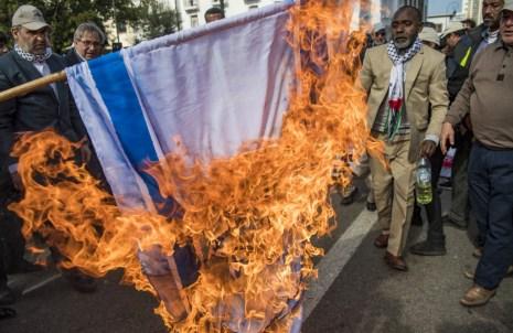 Burning the Israeli flag Photo by FADEL SENNA / AFP