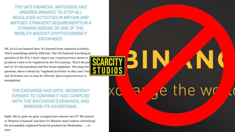 تم حظر Binance من قِبل المنظم في المملكة المتحدة البريطانية