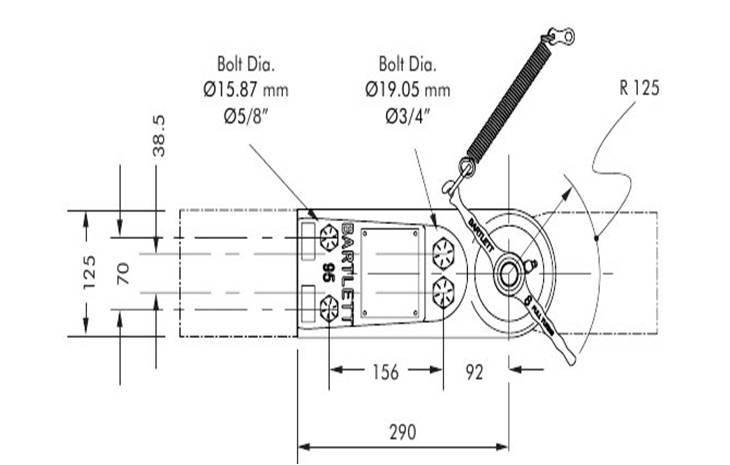 95mm TRAILER COUPLING RIGID DRAWBAR: MAX. ATM 7000KG
