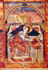 Illuminated manuscript showing the Evangelist Mark