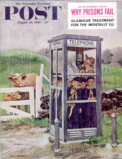Cover for Saturday Evening Post, August 26, 1961, Cub Scouts in a phone booth