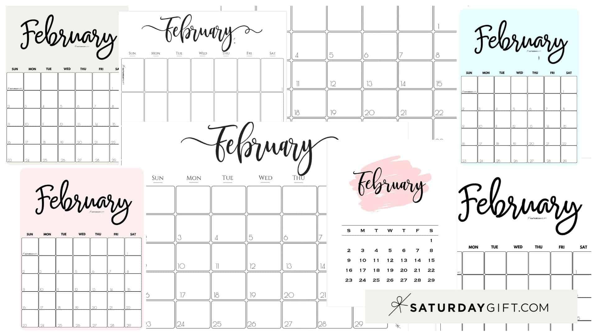 Cute (& Free!) Printable February 2021 Calendar | SaturdayGift