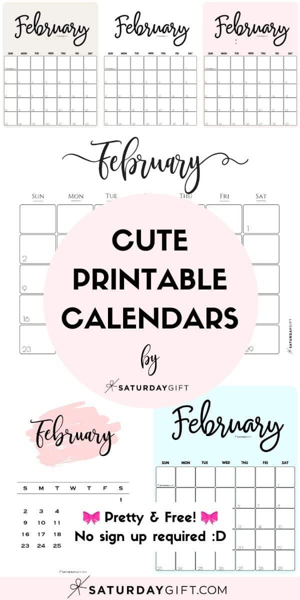 Cute (& Free!) Printable February 2022 Calendar   SaturdayGift