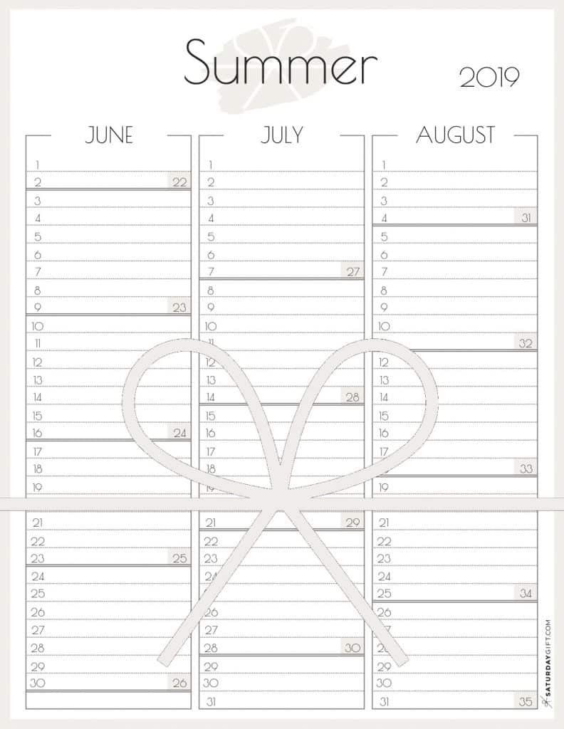 Cute Summer Calendar for June, July & August 2019 {Free