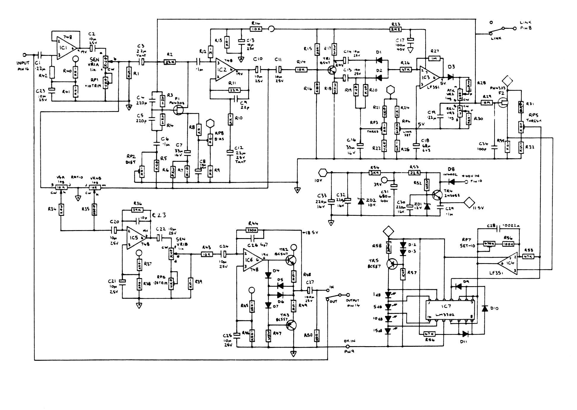 audio compressor limiter schematic