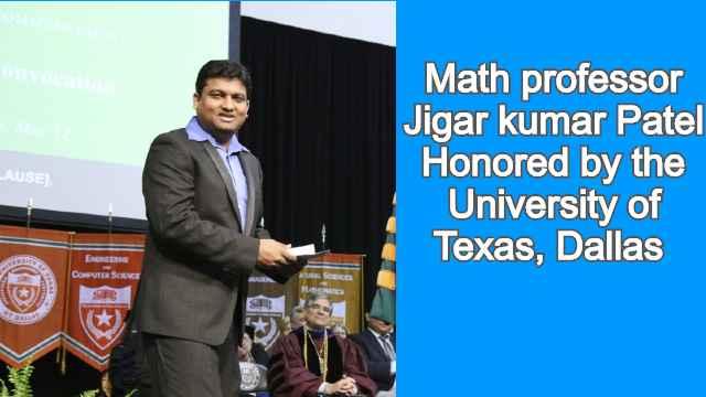 Math professor JigarkumarPatel Honored