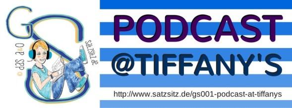 """Illustration von das A&O mit Kopfhörern, daneben auf blaugestreiftem Hintergrund der Schriftzug: """"Podcast at Tiffany's"""""""
