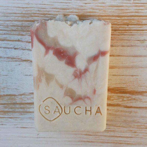 סבון טבעי עבודת יד יוגורט וחימר ורוד לשימוש יומיומי