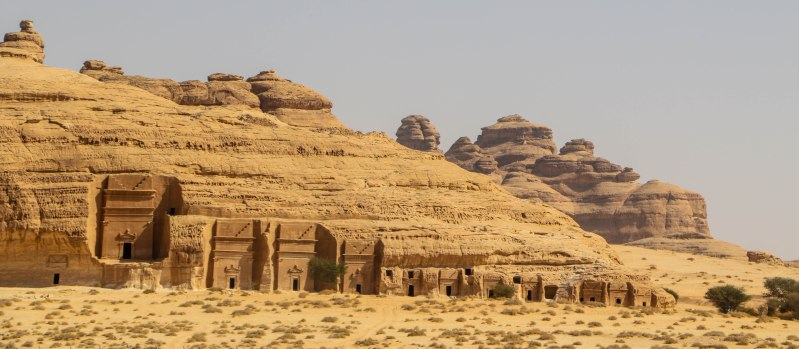 Nabatean tombs in the ancient site of Hegra (Maddain Saleh), first site of Saudi Arabia listed as UNESCO World Heritage