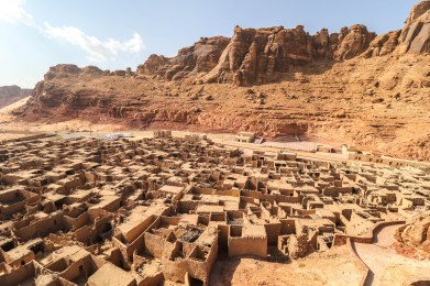 Old city of Al-Ula and the cliffs overlooking the oasis