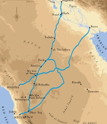 Pilgrimage and trade roads between Kufa and Makkah (credit: Hélène David)