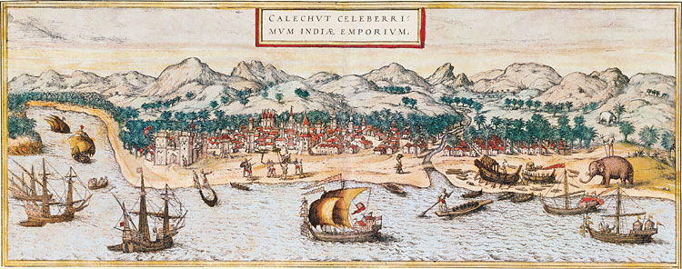 Sixteenth century painting of the Calicut port - showing  shipbuilding yards. (Courtesy - www.saudiaramcoworld.com; BRAUN AND  HOGENBERG, CIVITATES ORBIS TERRARUM, 1572 (2)) Click for larger image.