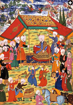 Timur (1336–1405), the Mongol ruler, shown in this painting from Zafer Nameh (Book of Victory) from 1600. (Image source - BRITISH LIBRARY / HIP / ART RESOURCE; Image courtesy - saudiaramcoworld.com).
