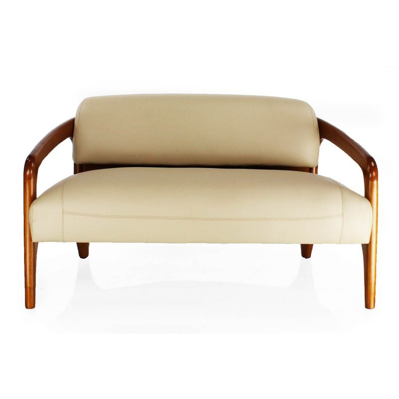 canape design scandinave cuir beige 2 places lund