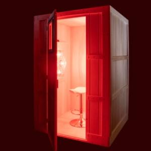 All wood sauna enclosure