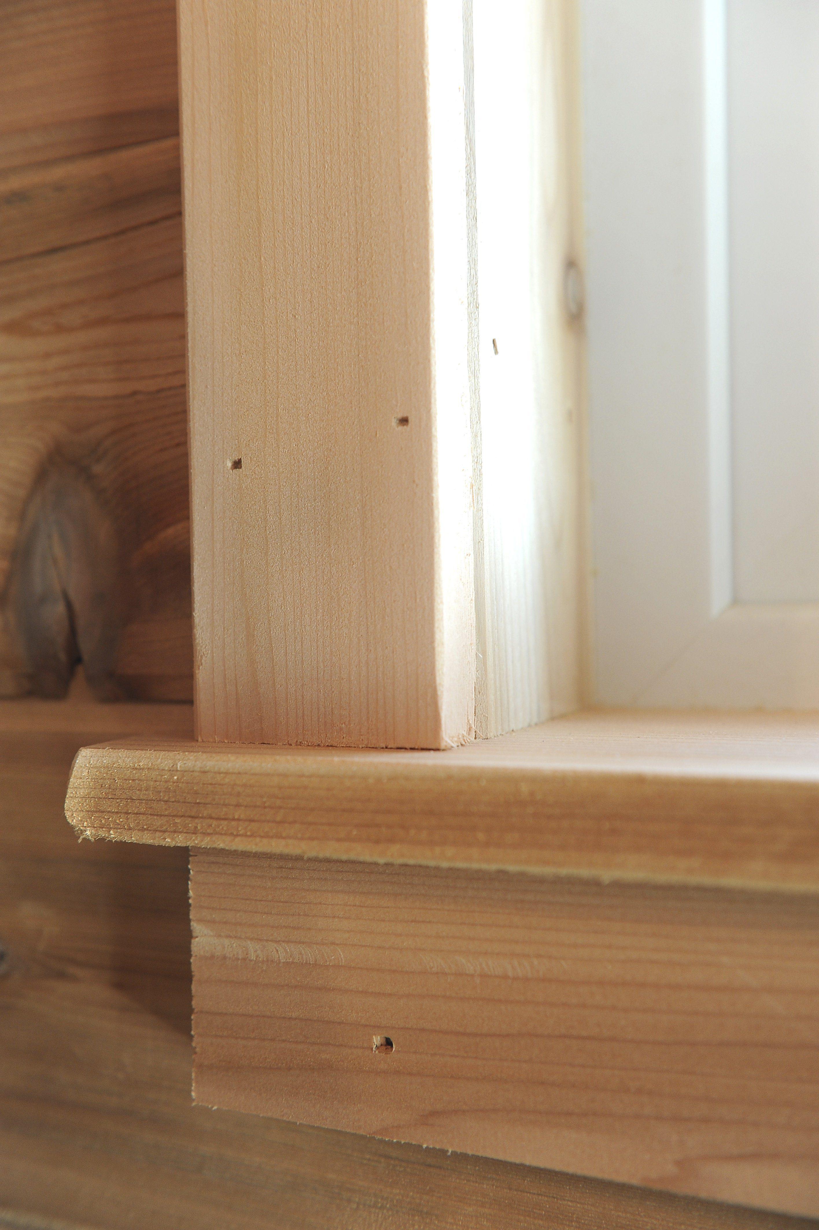 Trim around the sauna windows