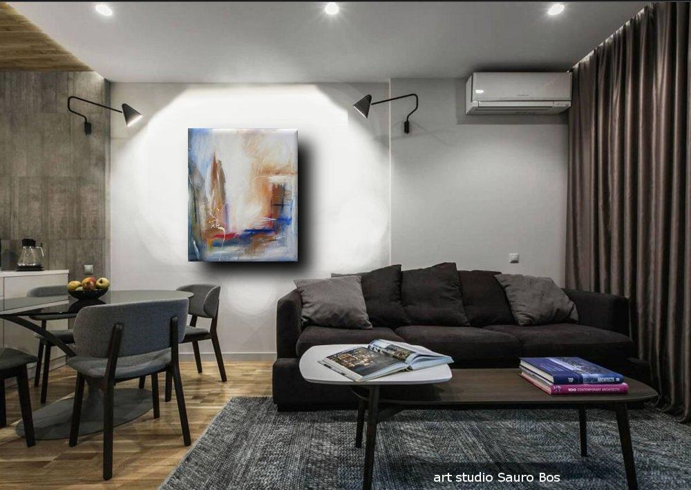 quadro astratto per soggiorno rosso e marrone  sauro bos