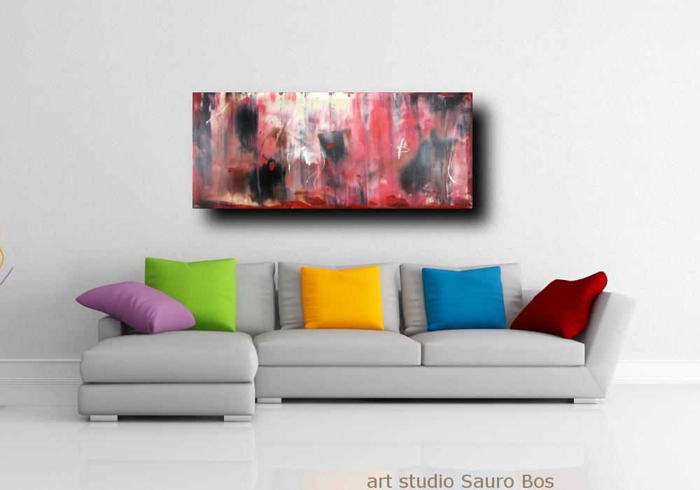quadri astratti informali per soggiorno nero rosso bianco