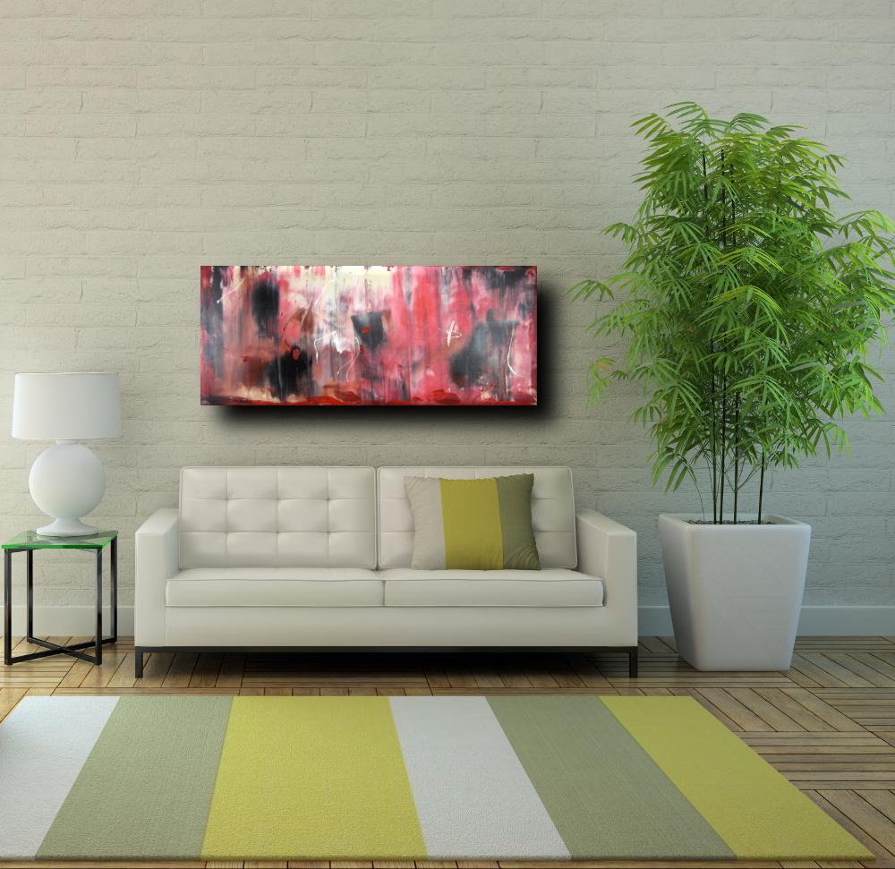 quadri astratti informali per soggiorno rosso e nero