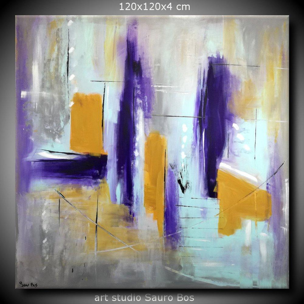 quadri astratti grandi dimensioni 120x120 viola  sauro bos