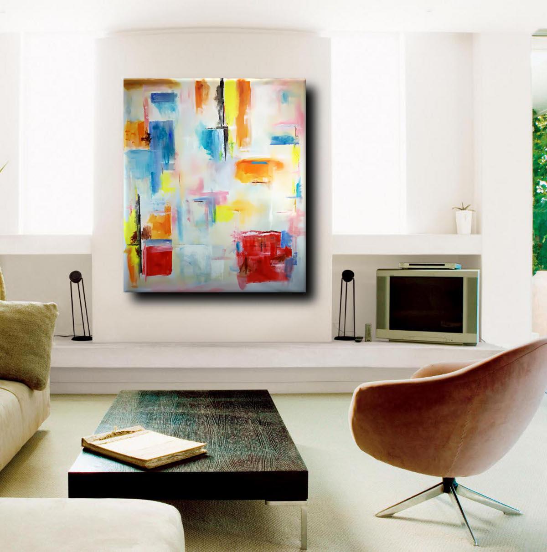 quadro moderno colorato per soggiorno 150x130  sauro bos
