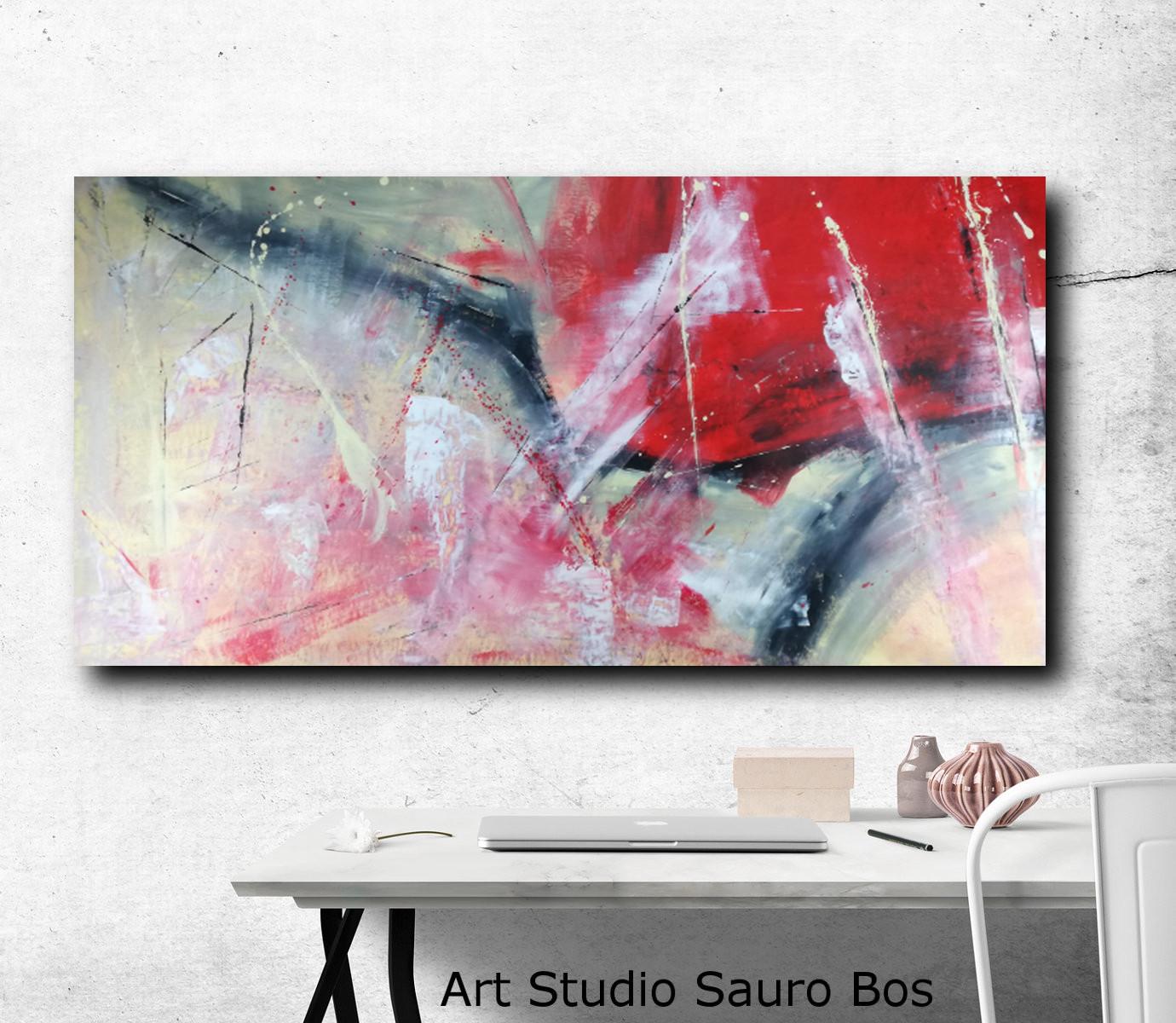 quadri astratti giallo rosso 120x60  sauro bos