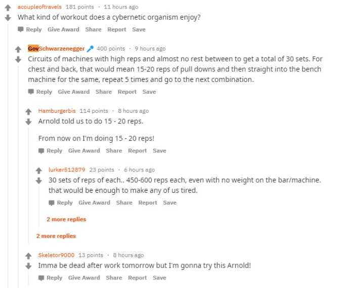 GovShwarzenegger gives body building advice on Reddit