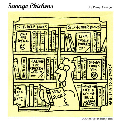 image of a chicken deciding on what to read