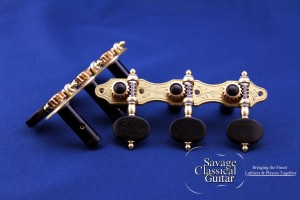 Alessi tuning machines - F2 Oval Ebony A Style with Black Roller