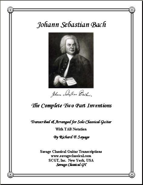 Bach - Two Part Inventions for Solo Classical Guitar with TAB | Savage  Classical Guitar