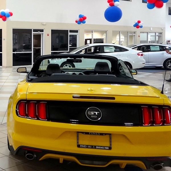 yellow mustang pines ford